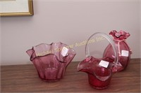 THREE PIECES CORNWALL CRANBERRY GLASS