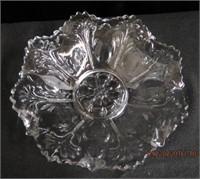 "Patterned glass ruffled edge bowl 9"""