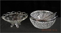 "Cut glass 8"" bowl with chrome rim and servers,"