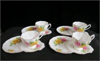 Queen Anne set of 4 cups and tea plates