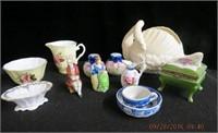 3 pcs Occupied Japan, Noritake bowl, swan, salt