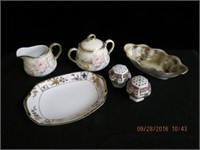 Nippon hand painted bowls, salt and pepper and