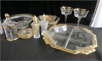 Gold decorated serving tray , bowls, salt and