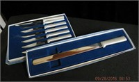 7 Dupont steak knives with matching bread knife