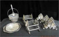 4 Fork rests, 2 cutllery caddies, butter dish