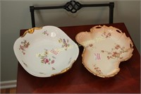PAIR LIMOGES SERVING DISHES WITH FLORAL DECOR