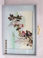 """Framed 3D feather art under glass 18.25 X 12.5"""""""