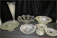 Pressed glass vase, pedestal serving plate, bowls
