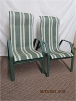 Pair of aluminum frame high back patio chairs