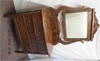 Fumed oak 4 drawer dresser with beveled mirror