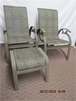 2 patio chairs with 1 foot stool