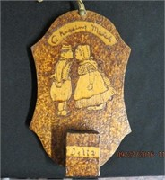 "Oval wicker tray 20.5""L, wood burning match holder"