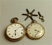 TWO GOLD PLATES WATCHES PLUS KEYS
