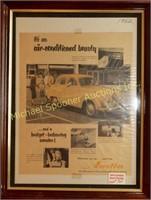 AUSTIN 1952 FRAMED CAR ADVERTISEMENT