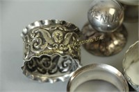 QUANTITY OF NAPKIN RINGS -PEWTER, SILVERPLATE ETC.