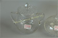 ENGLISH EDWARDIAN CRYSTAL BISCUIT BARREL &DECANTER
