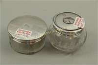TWO DRESSER JARS WITH STERLING COVERS