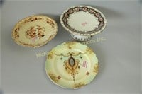 ROYAL DEVON CABINET PLATE AND TWO CAKE COMPOTES