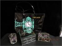 Mirrored box, Chicago bag, clear glass box etc