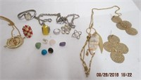 Costume rings, necklaces, earrings etc