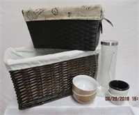Wicker baskets, vase, bowls smoke glass container