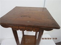 """Solid elm 2 tier table 17.75 X 17.75 X 31.5""""H"""