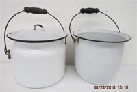 2 enamel pails, one with lid