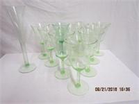10 Green depression goblets and vase