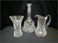 "Crystal 6"" vase, 6.5"" pitcher, 10.25"" decanter no"