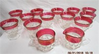 Flash glass Thumbprint 12 footed punch cups,