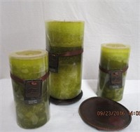 Honey Dew melon scent pillar candle and 2 metal