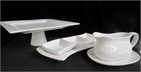 "12"" square pedestal cake plate and 3 section"