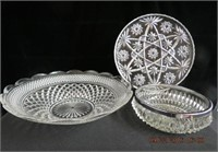 """Clear glass 13.5"""" console bowl,  8"""" glass bowl"""