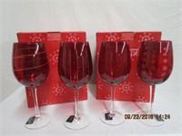 Mikasa 2 sets of 4 Christmas wine glasses