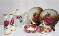 Rose decorated plates, Royal Albert cream and