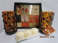 "Tile base serving tray, pair of 9"" fall candle"