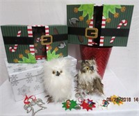 Christmas gift boxes, ornaments and 2 Urban Barn