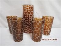 Animal print glass 5 piece water set