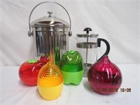 Compost counter top pail, coffee press and storage