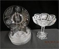 """Pinwheel crystal pedestal bowl 6."""" across,"""