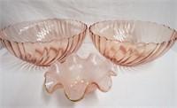 """2 9"""" pink bowls and ruffled 5.5"""" bowl"""