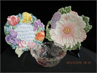 2 Fitz and Floyd floral plates and pink decorated