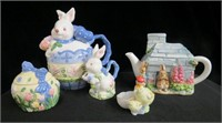 Easter rabbit teapot cream and sugar, musical