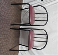 Pair of metal chairs, upholstered seats