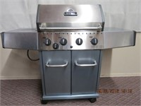 Broil-Mate propane BBQ, side burner, and cover