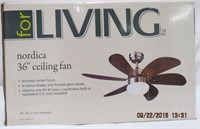 "Nordica 36"" ceiling fan/light brushed nickel"