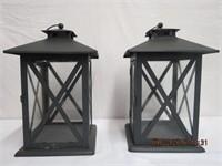 """Pair of metal candle lanterns 8.25 X 8.25 X 14""""H"""