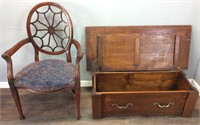 VINTAGE HAND CARVED ARM CHAIR WITH WOODEN CHEST