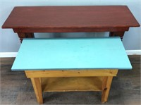 2 WOODEN HALL TABLES