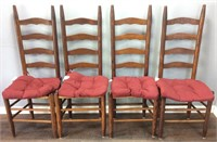 Set Of 4 Ladderback Dining Chairs